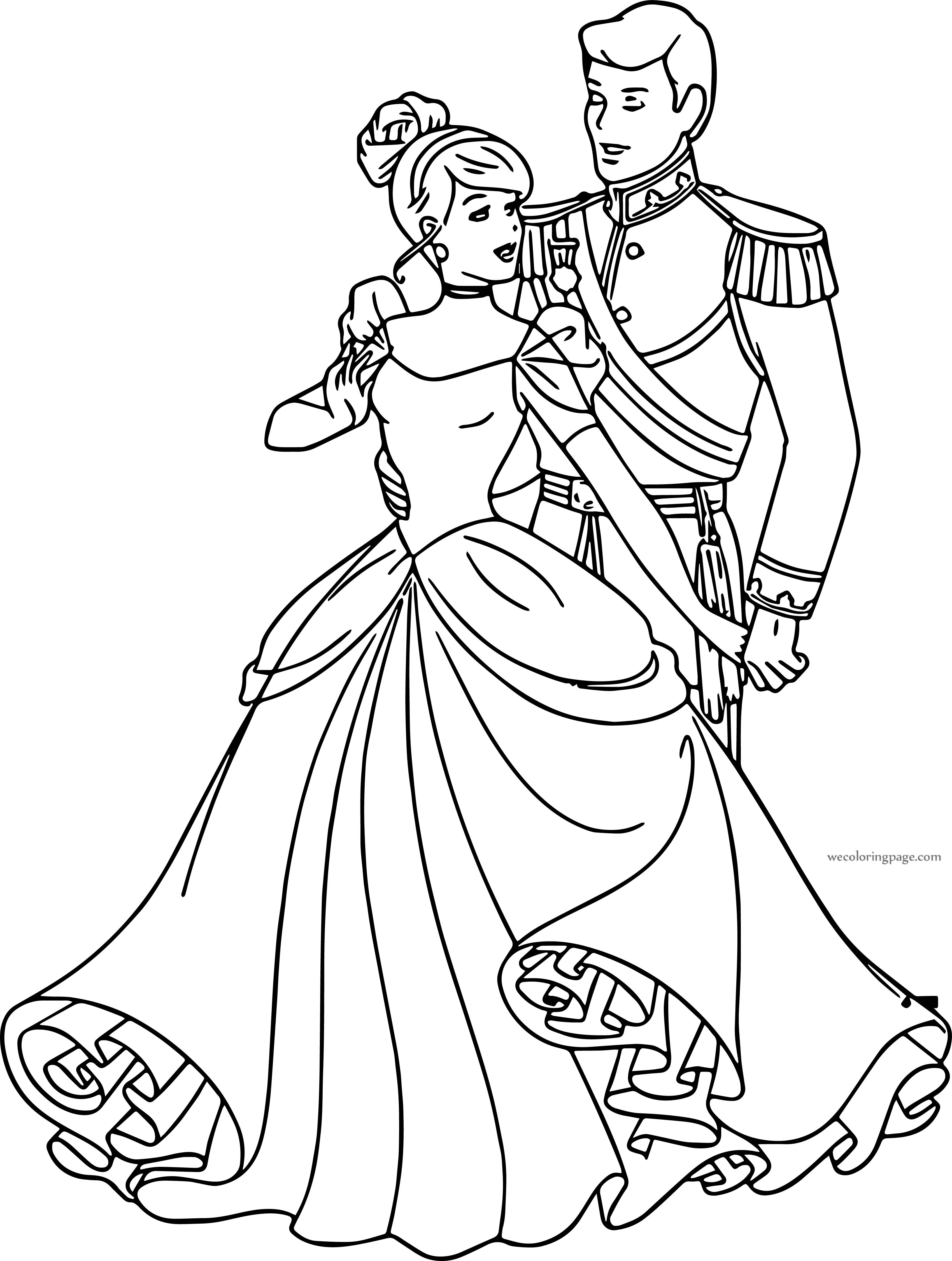 Cinderella And Prince Charming Going Together Coloring Pages
