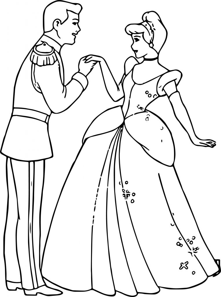 Cinderella And Prince Charming Hand To Hand Coloring Pages ...