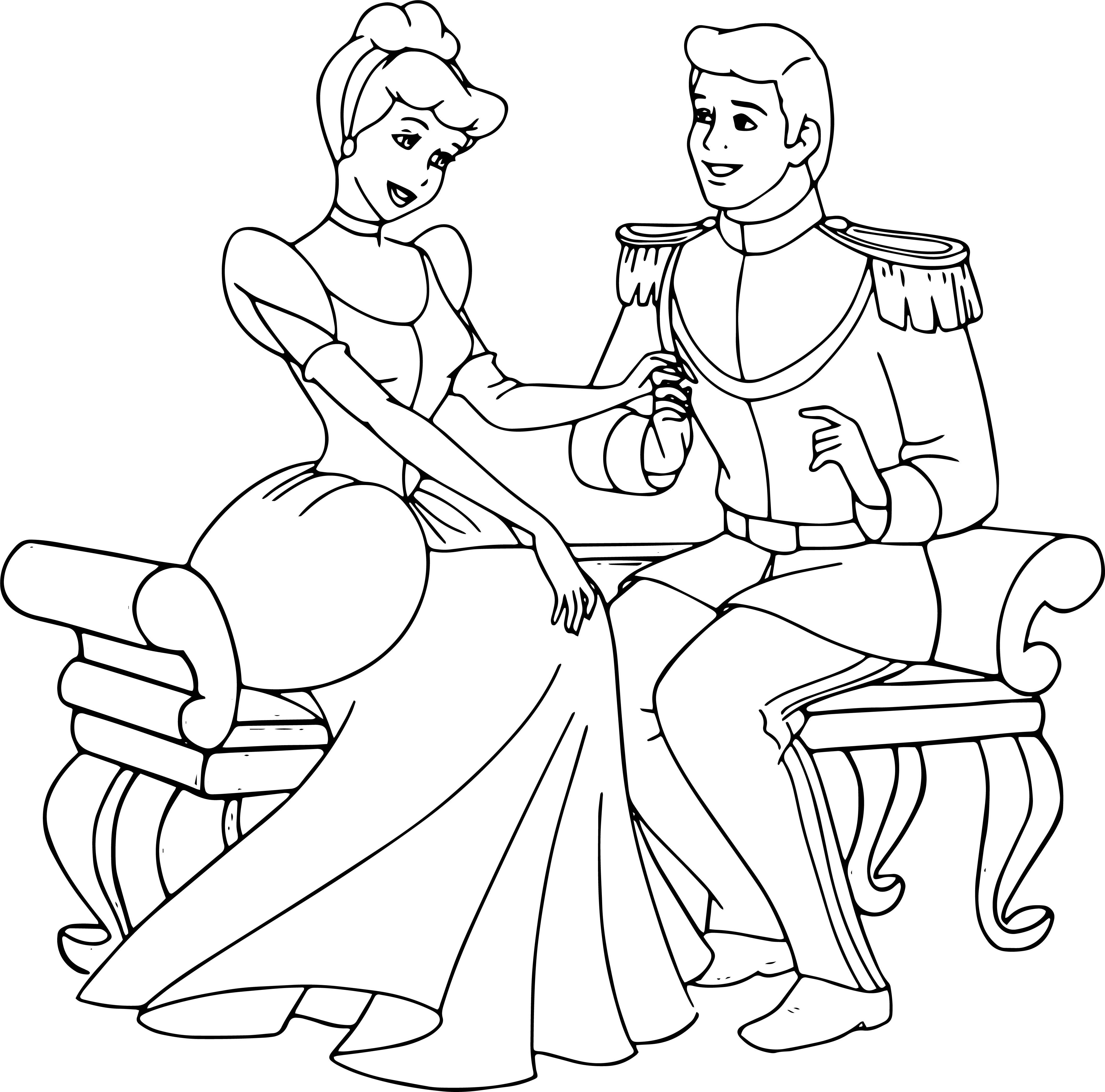 Cinderella And Prince Charming Staying Talking Coloring Pages