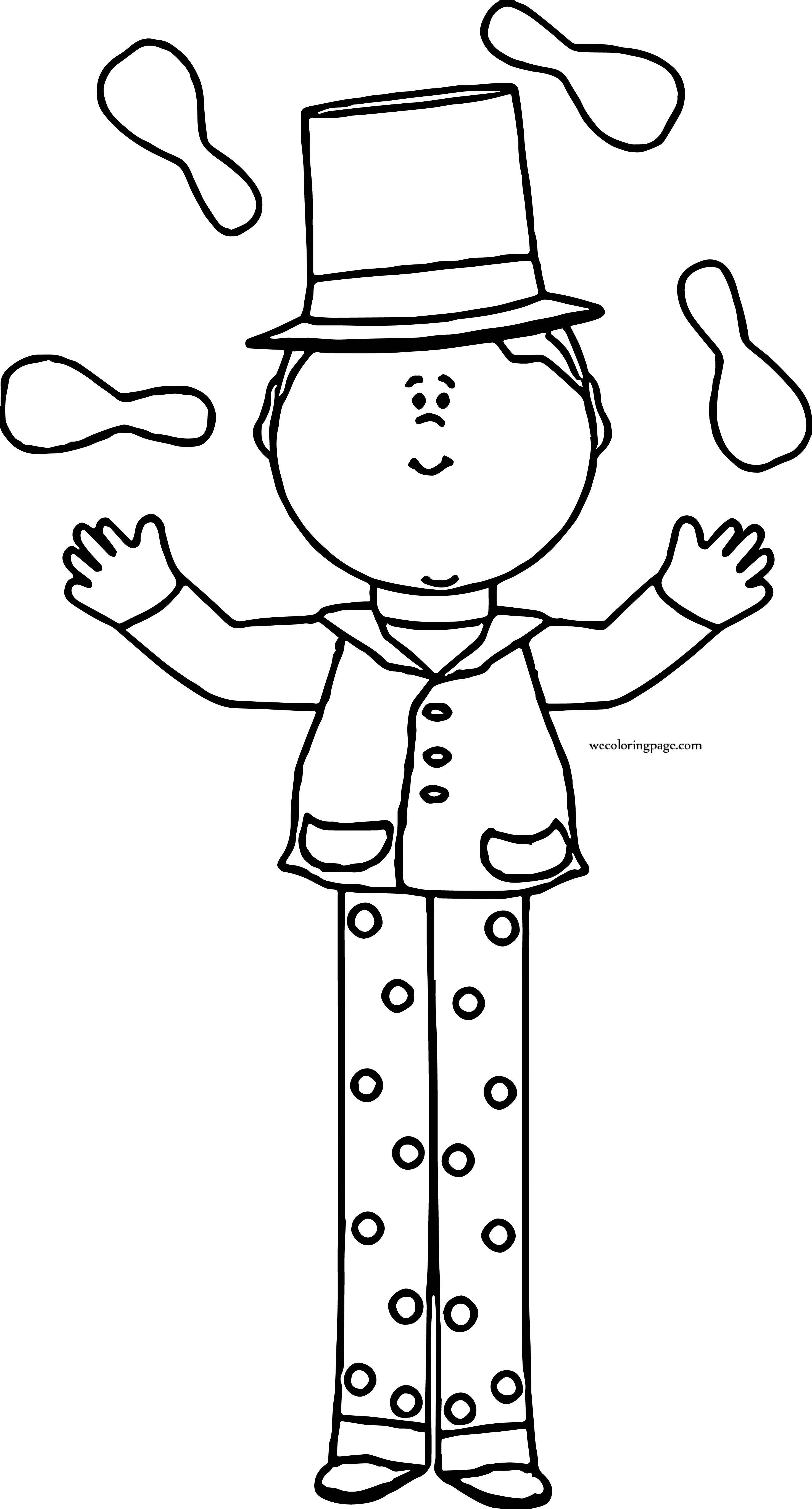 Circus Boy Playing Coloring Page