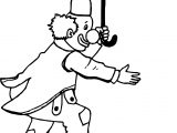 Circus Clown On Rope And At Hand Umbrella Coloring Page