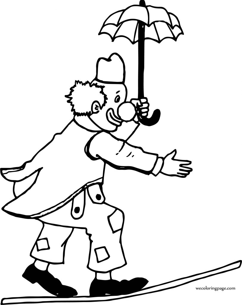 Circus Clown On Rope And At Hand Umbrella Coloring Page ...