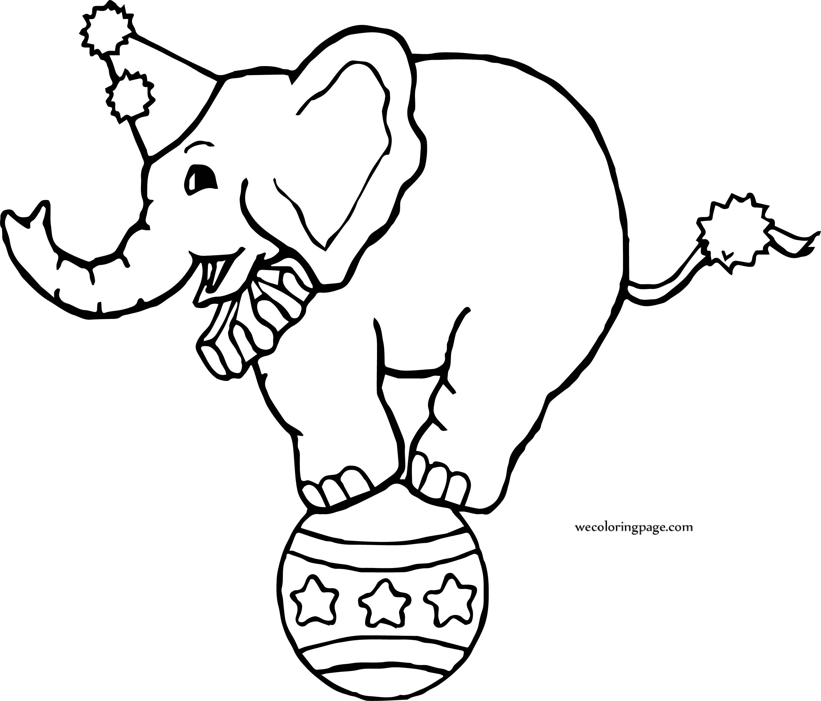 Circus Elephant On Ball Coloring Page