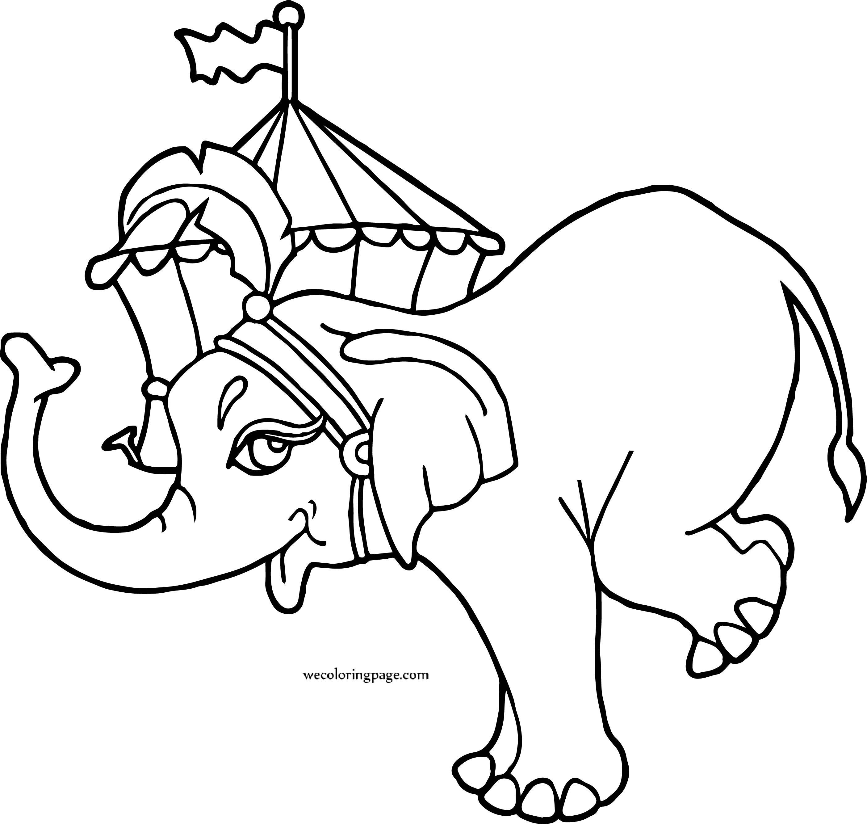 Circus Elephant On Circus Tente Coloring Page