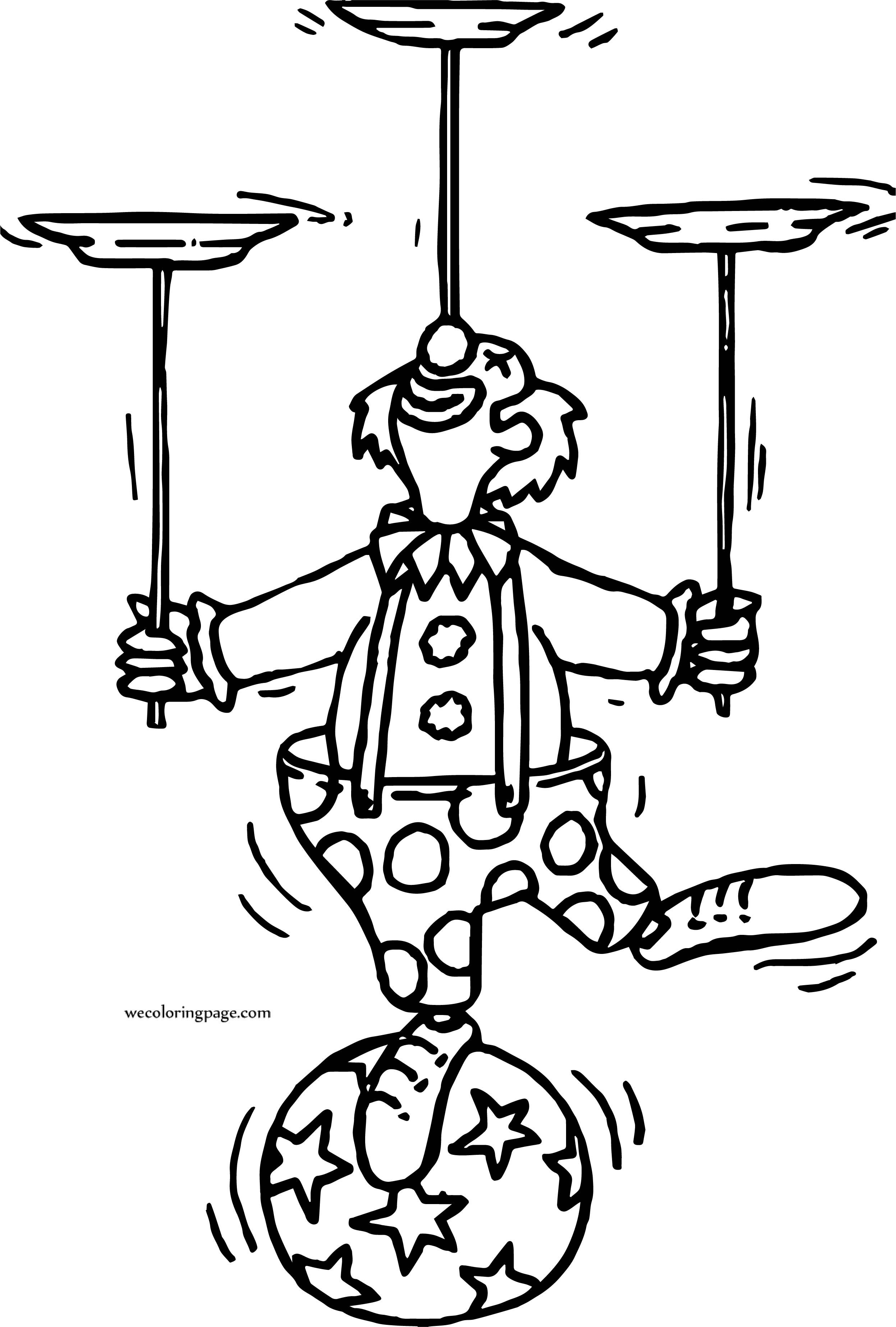 Clown Ball Plates Coloring Page