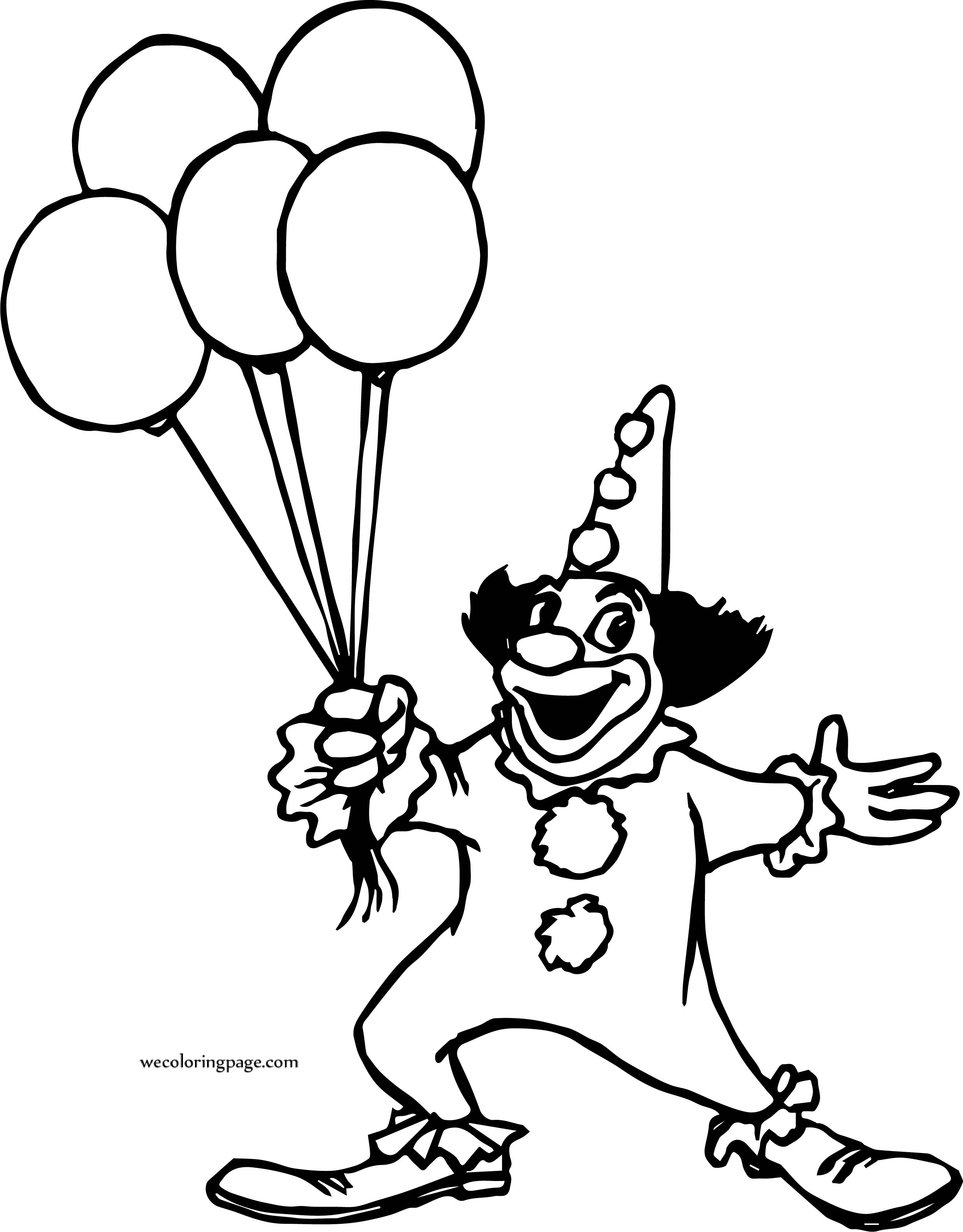 Clown Balloon Coloring Page | Wecoloringpage.com