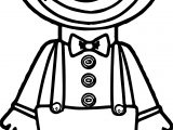 Clown Front View Cartoon Coloring Page