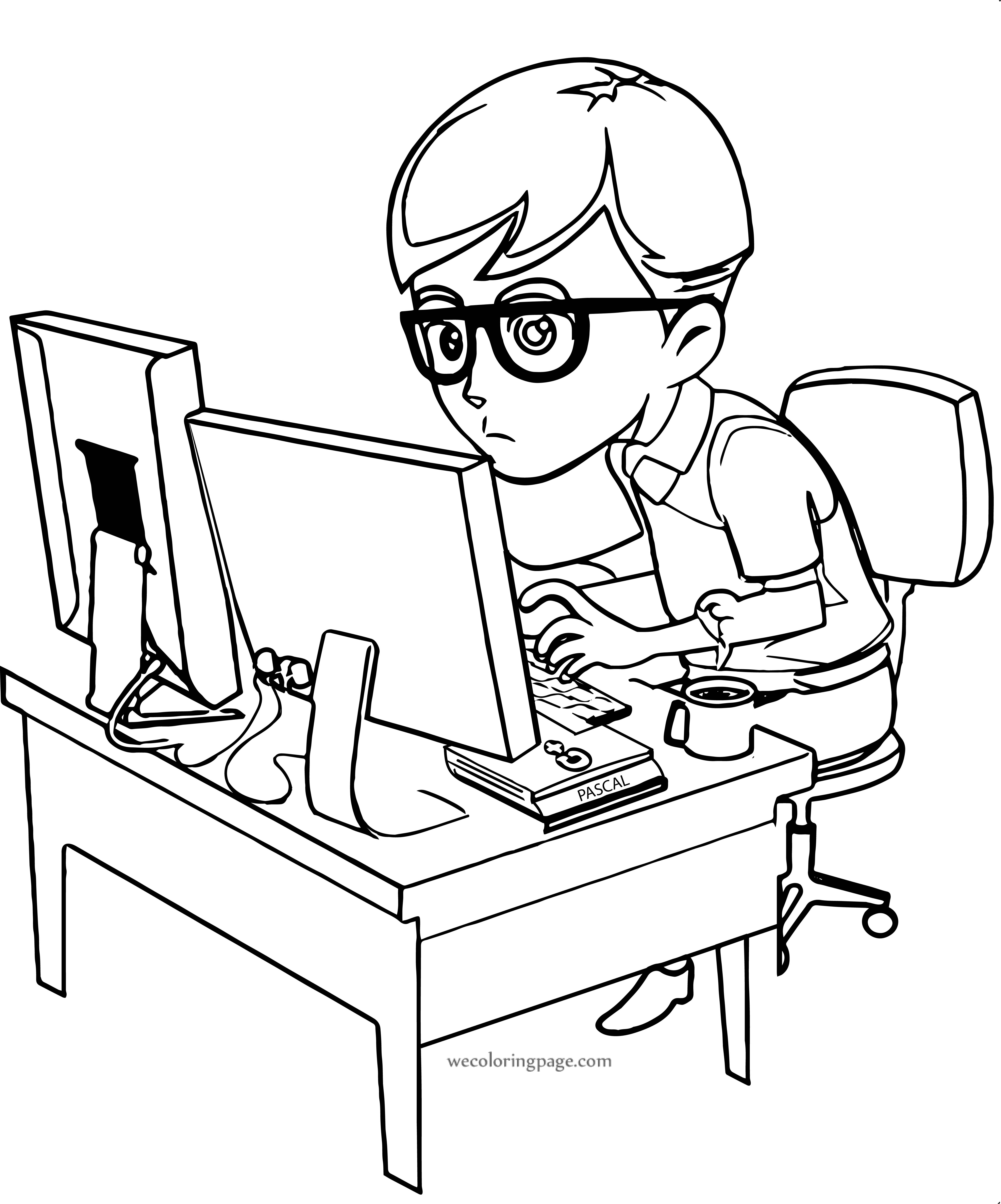Computer Engineer Boy Pascal Coloring Page