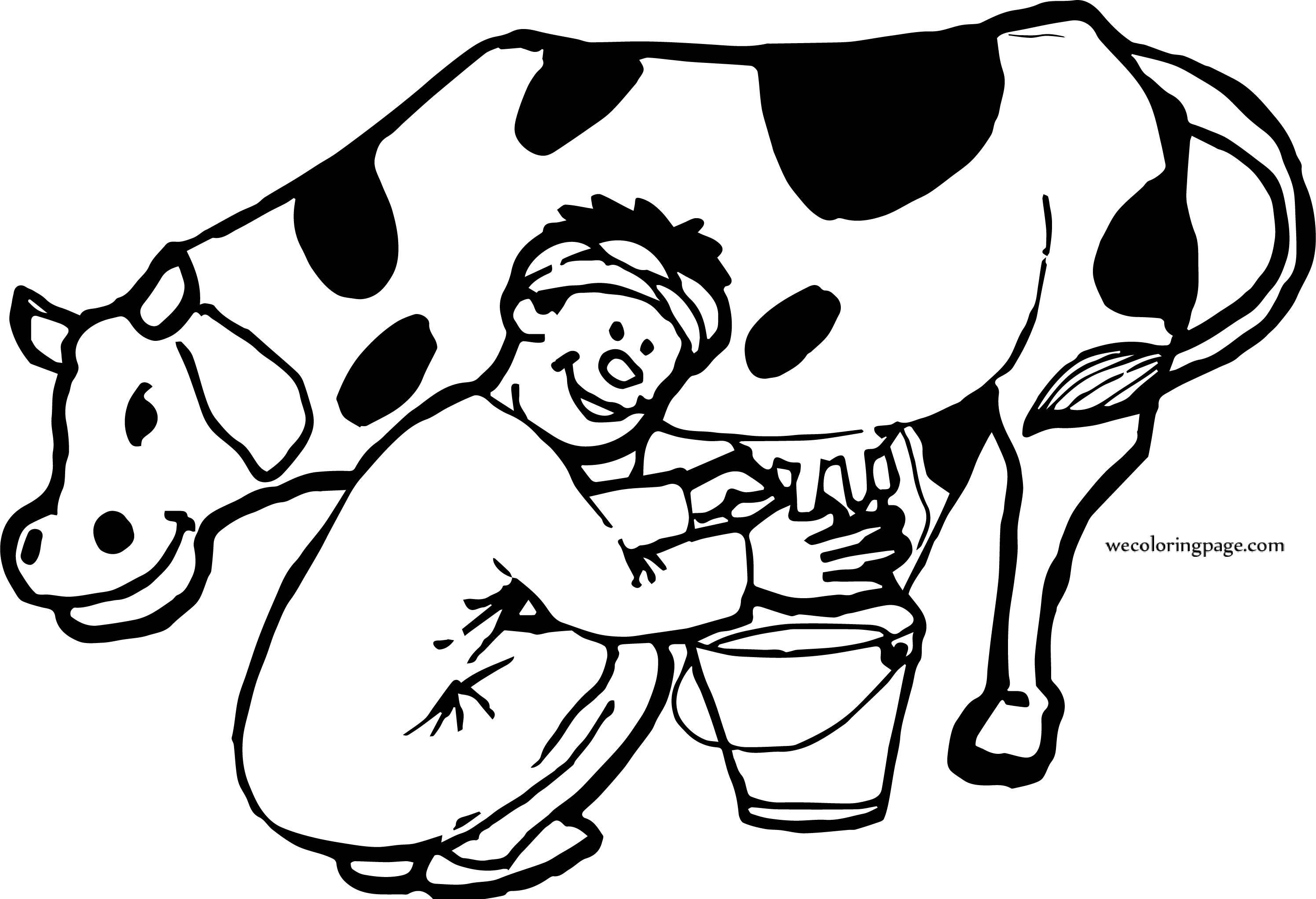 Cow And Man Milk Coloring Page