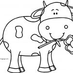 Cow Holding Flower Coloring Page