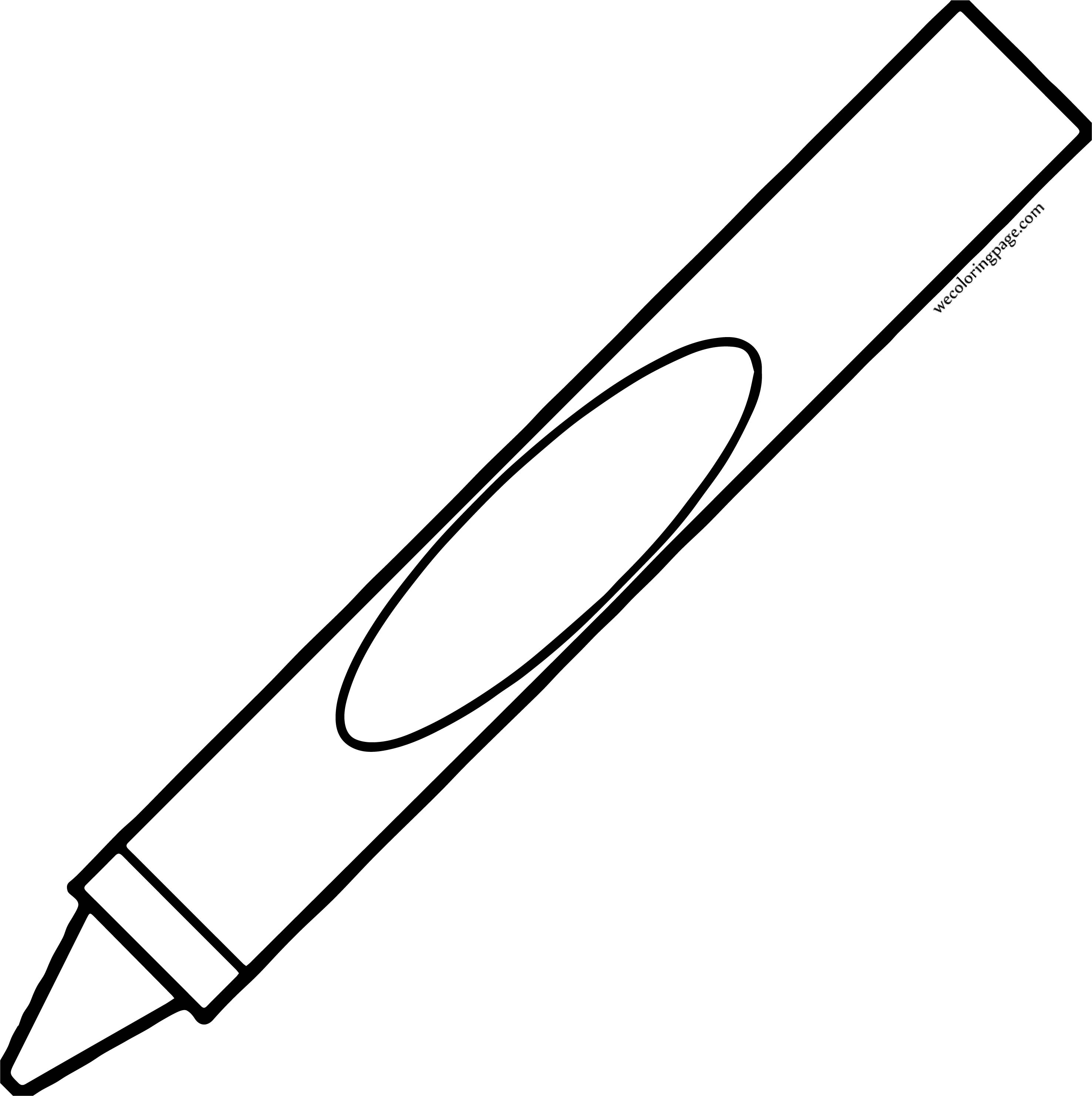 Crayon Tall Pen Coloring Page