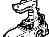 Crocodile Alligator Car Coloring Page