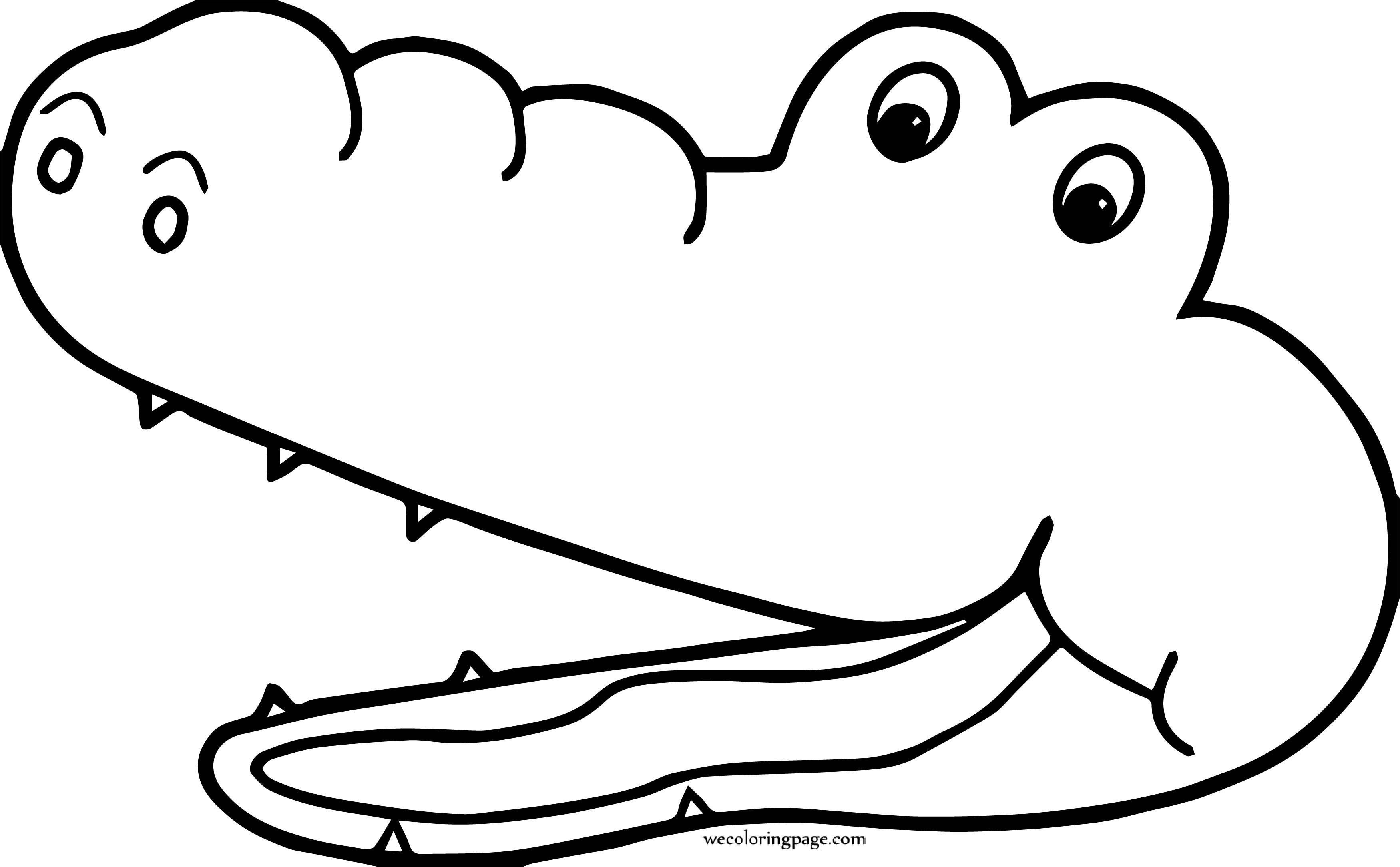 Crocodile Alligator Face Coloring Page