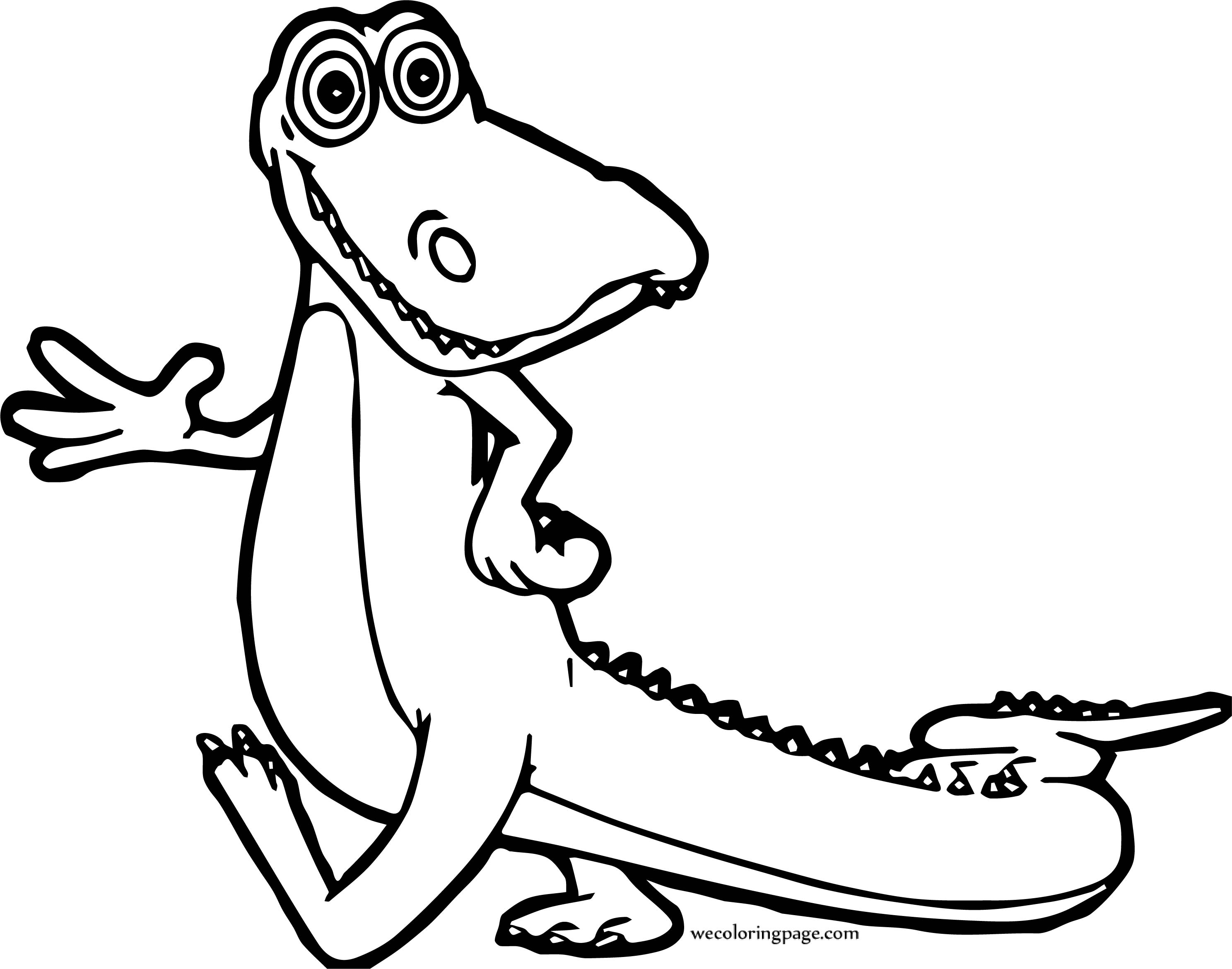Crocodile Alligator Hello Coloring Page
