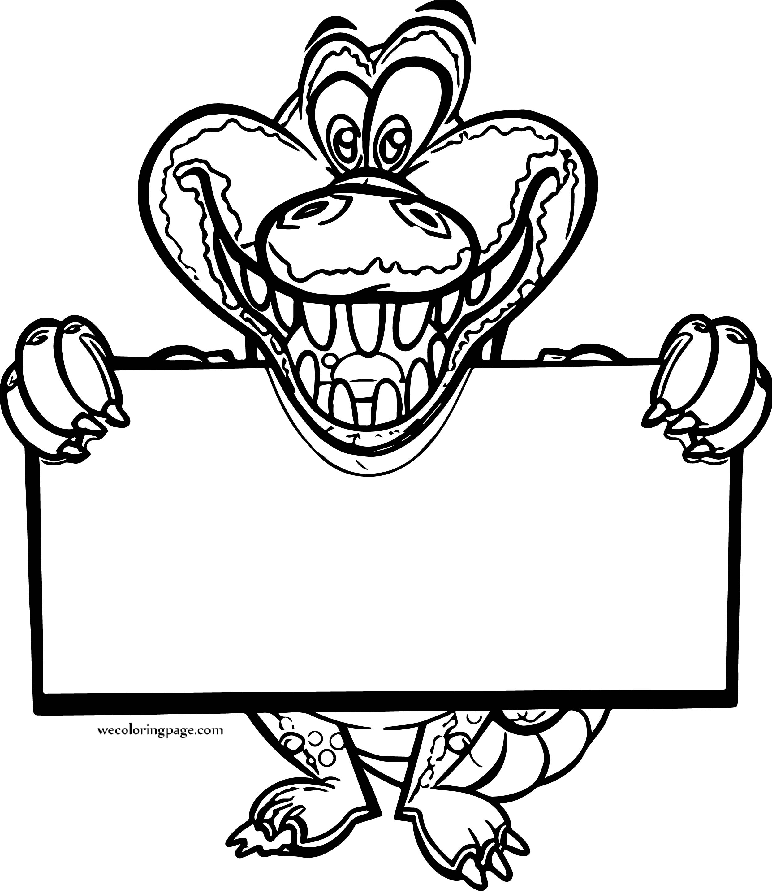 Crocodile Alligator Sign Coloring Page