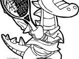 Crocodile Alligator Tennis Player Coloring Page