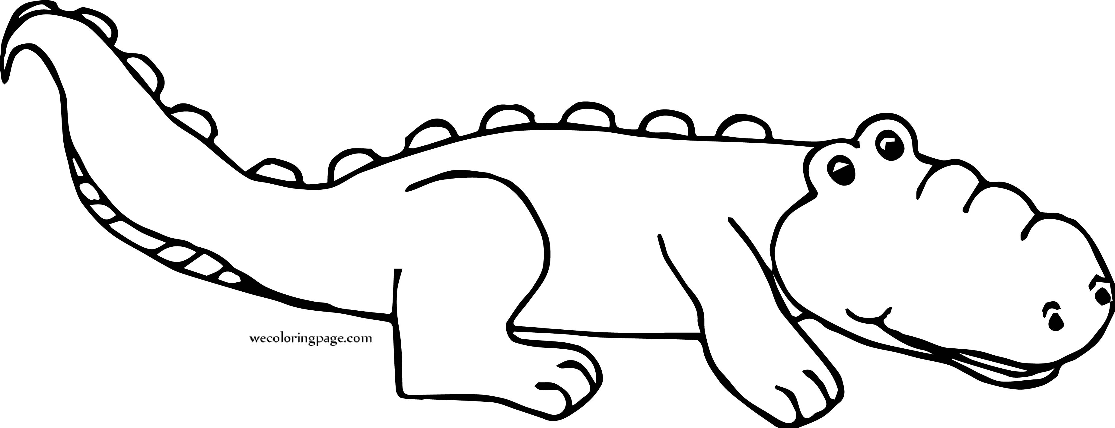 Crocodile Alligator Waiting Coloring Page