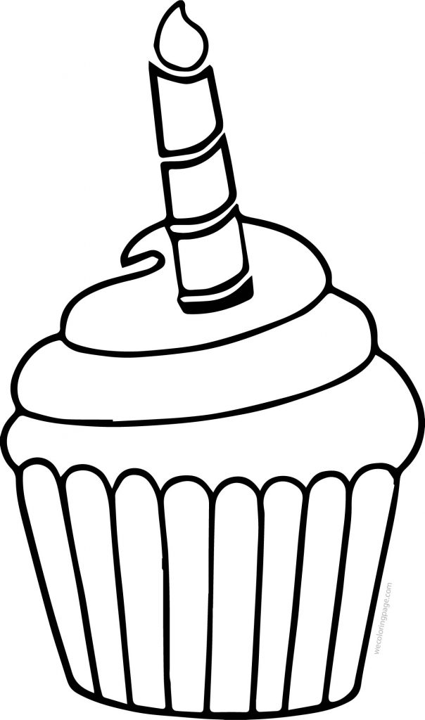 Cupcake Candle Cake We Coloring Page Wecoloringpage