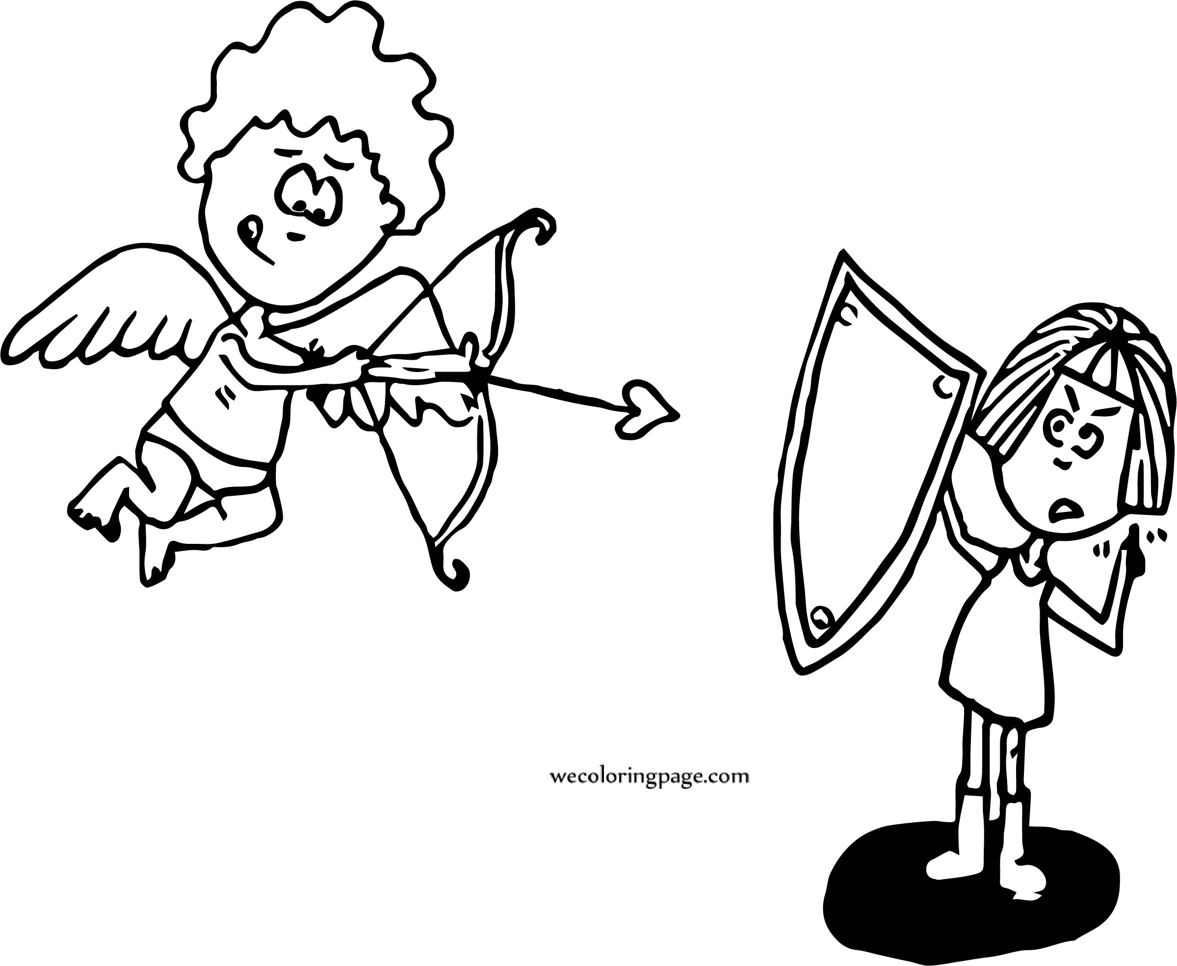 Cupido Boy And Guard Girl Coloring Page