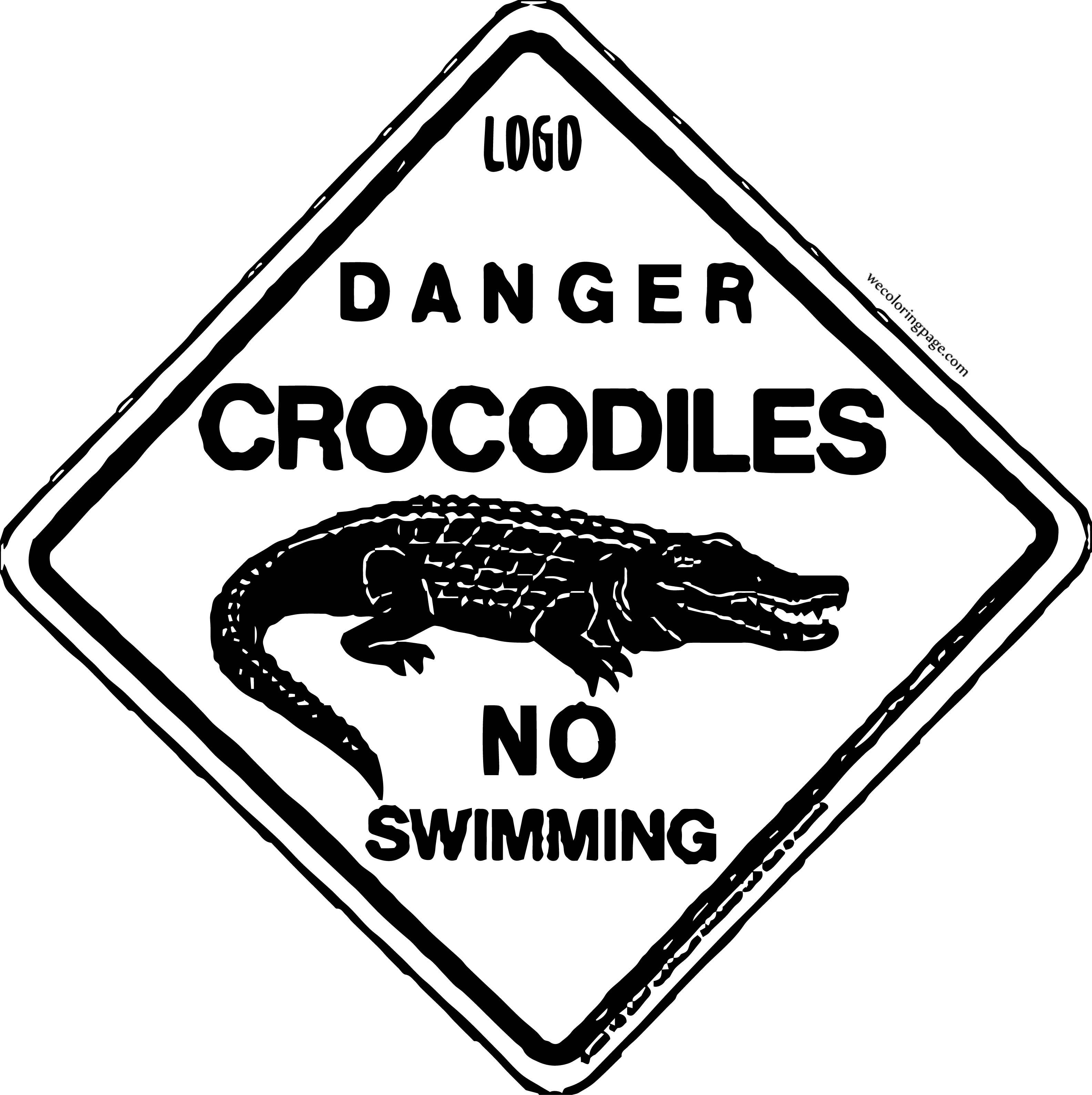 Danger Crocodile Alligator Sign Coloring Page