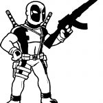 Deadpool Gun Coloring Page
