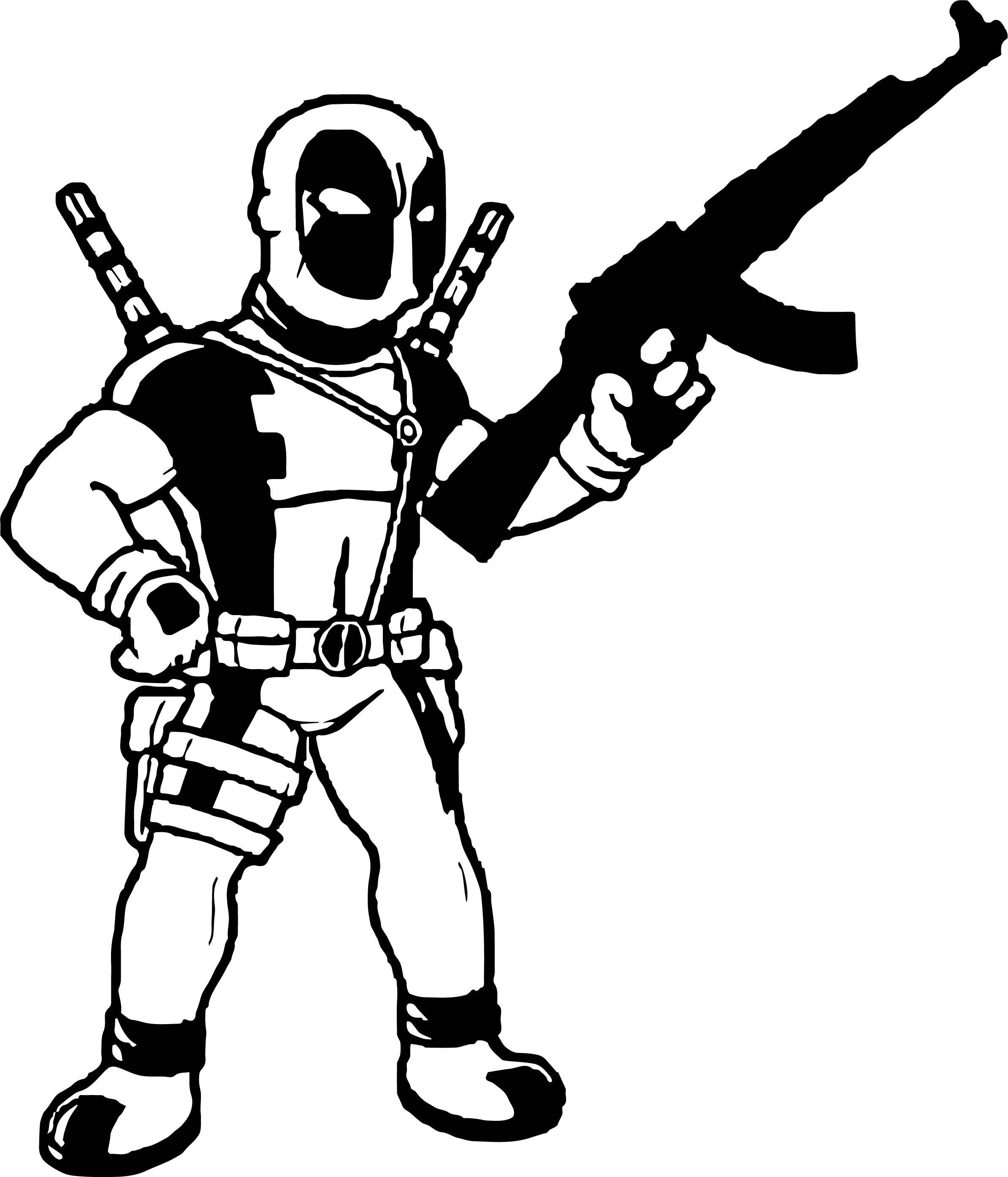 Deadpool Gun Coloring Page