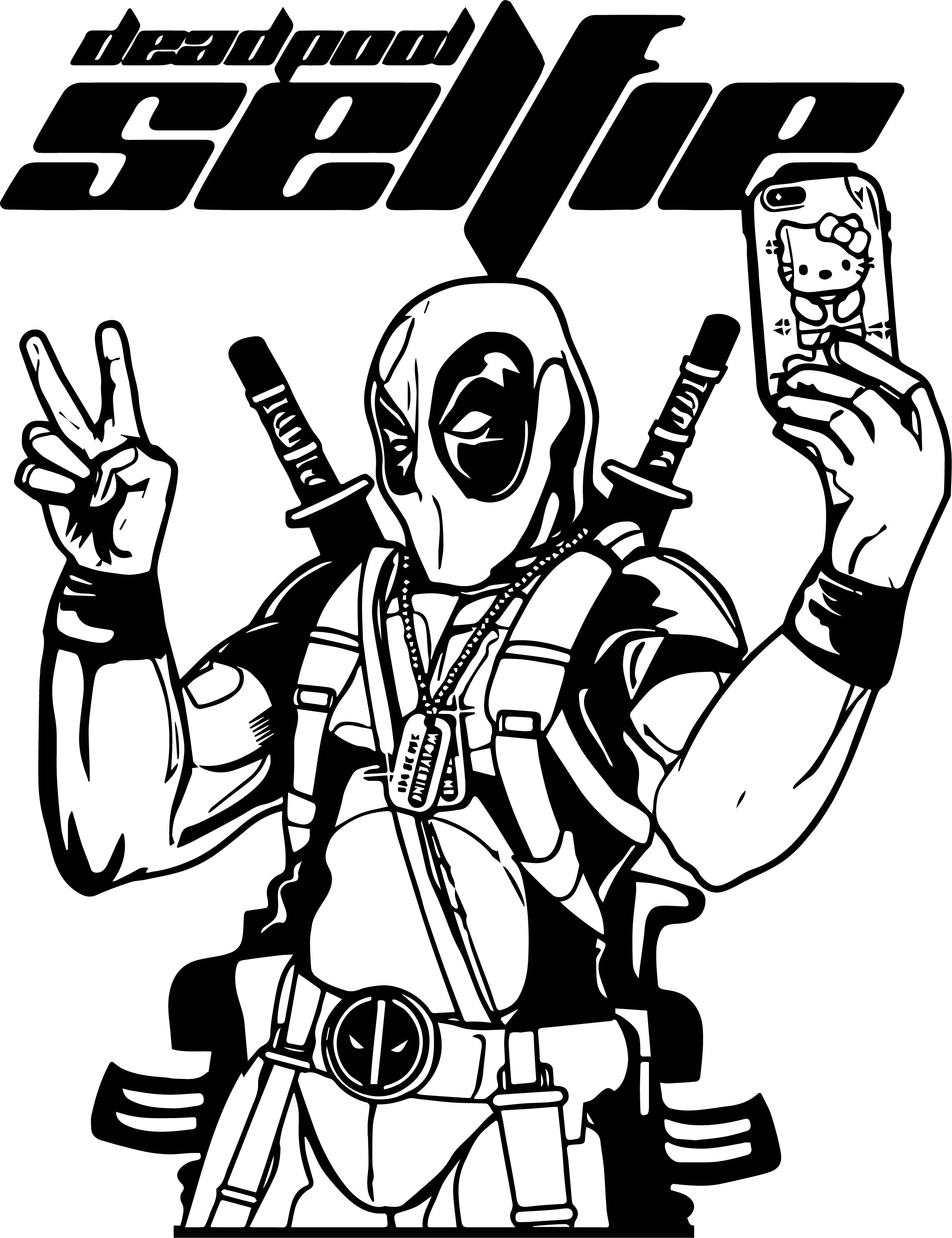 Deadpool Selfie Coloring Page