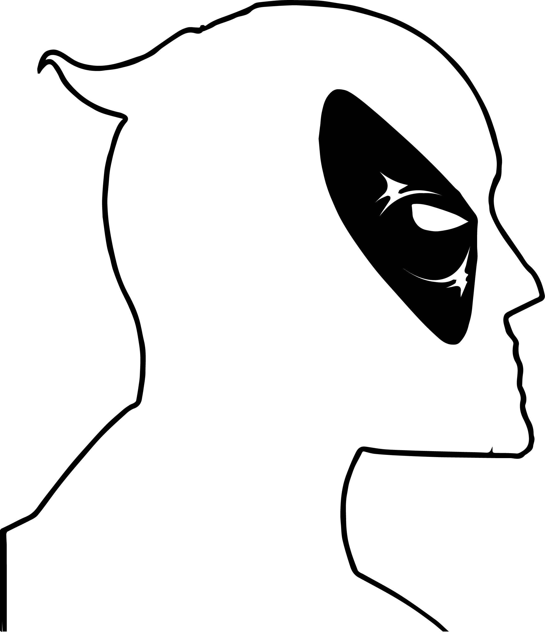 Deadpool Side Face Coloring Page