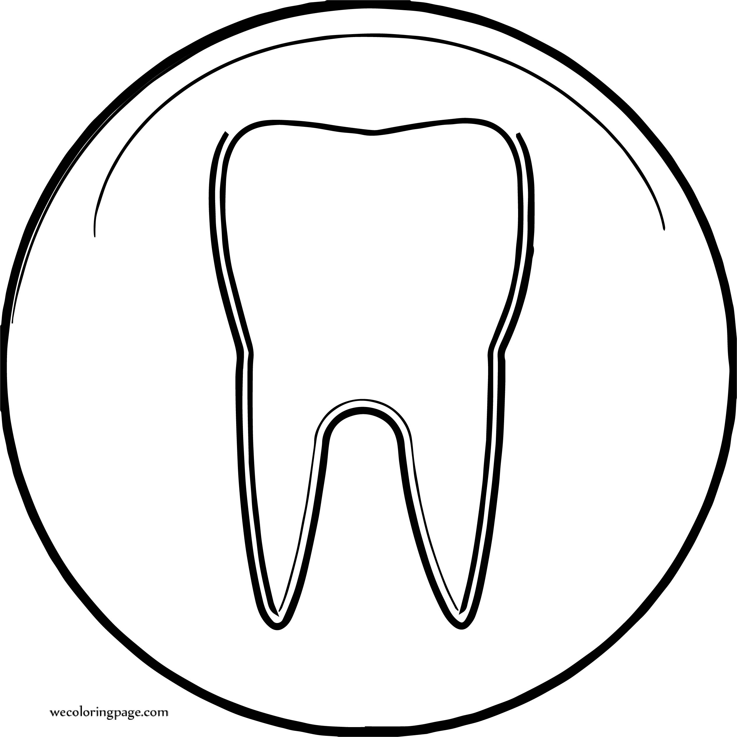 Dental Circle Tooth Coloring Page