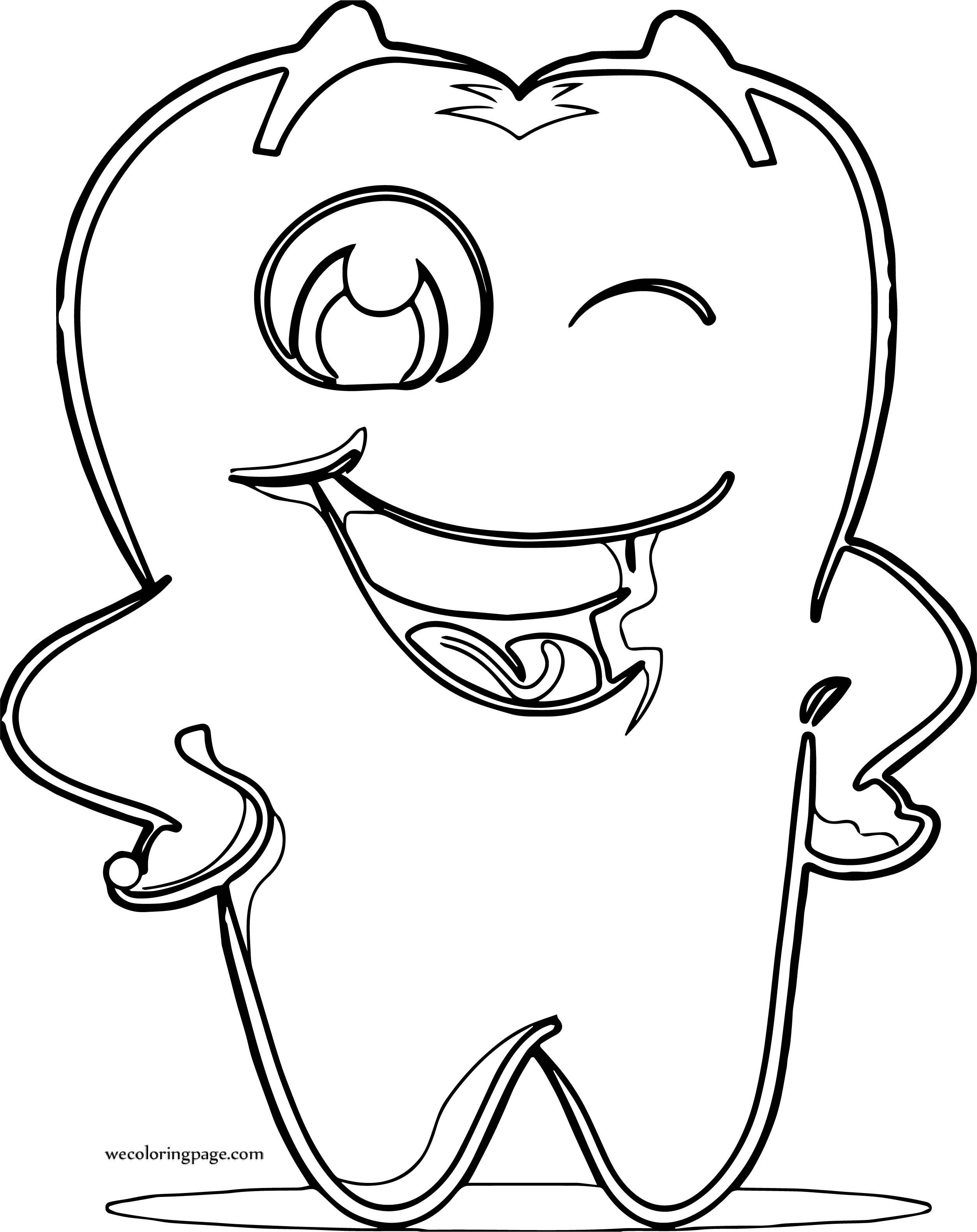 Dental Health Tooth Wink Coloring Page
