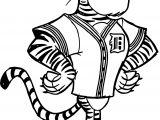 Detroit Tiggers Mascot Character Coloring Page