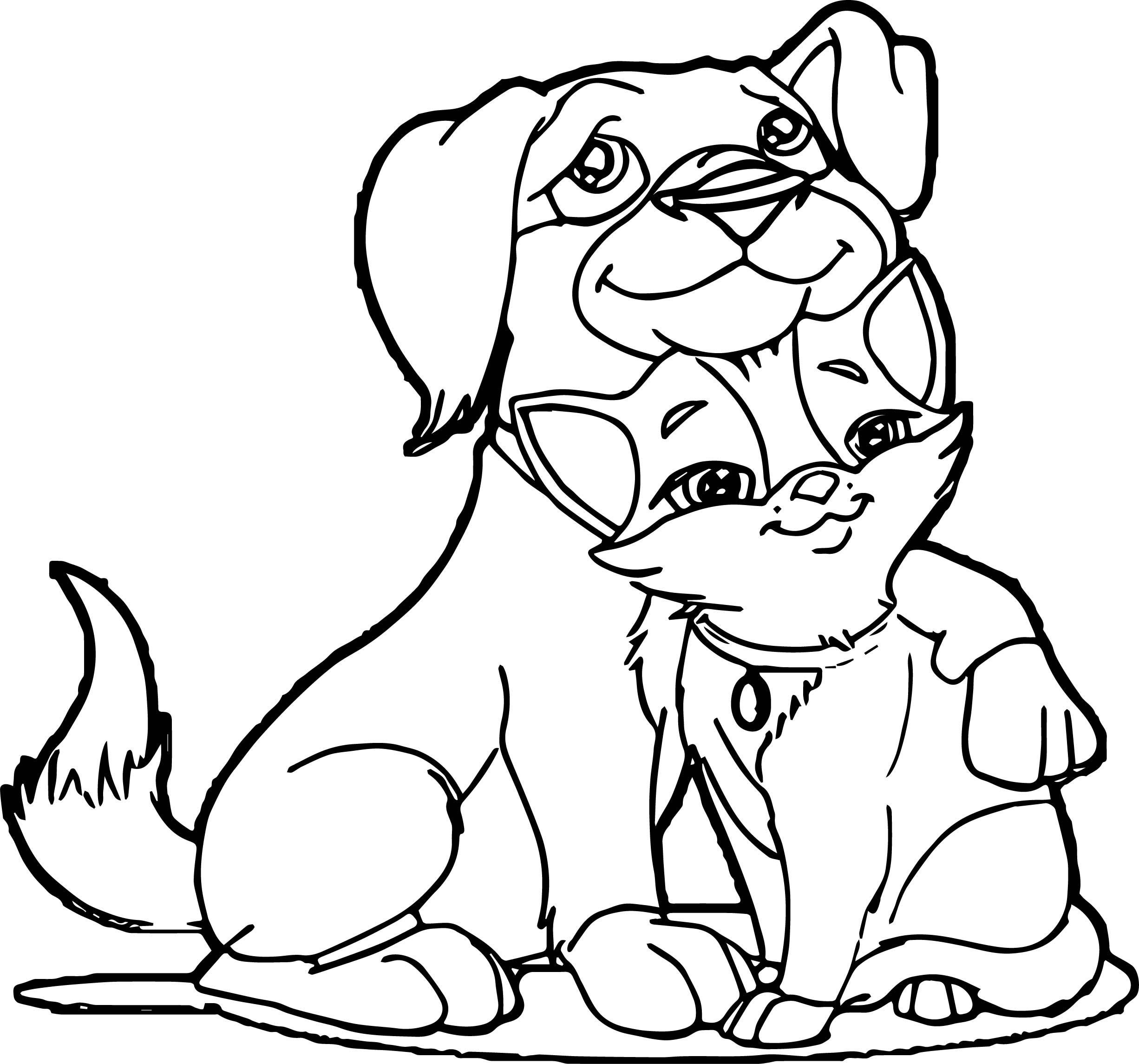 Dog And Cat Friends Coloring Pages