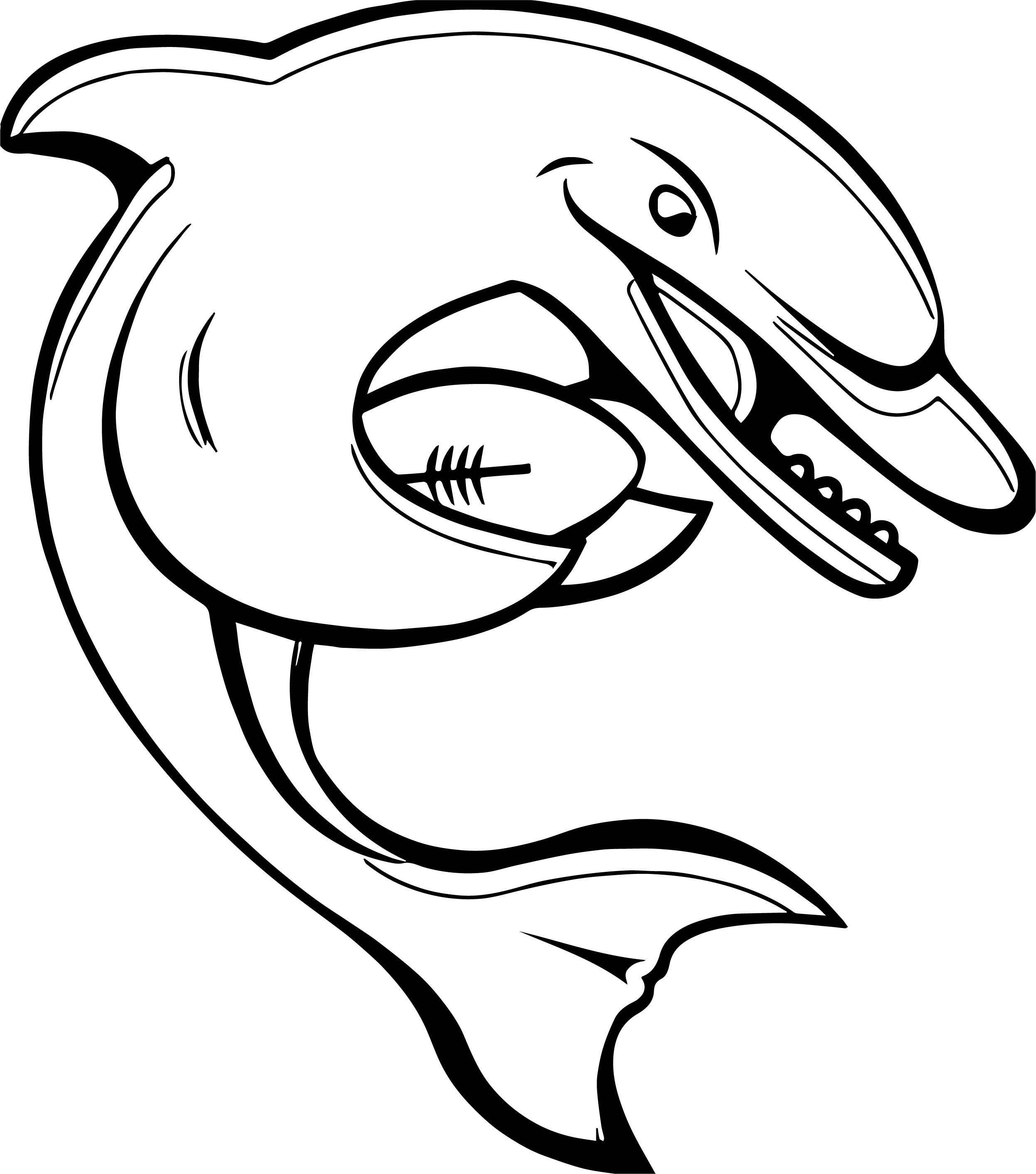 Dolphin American Footballl Baseball Coloring Page