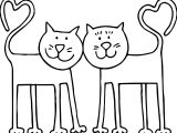 Double Heart Tail Cat Coloring Page