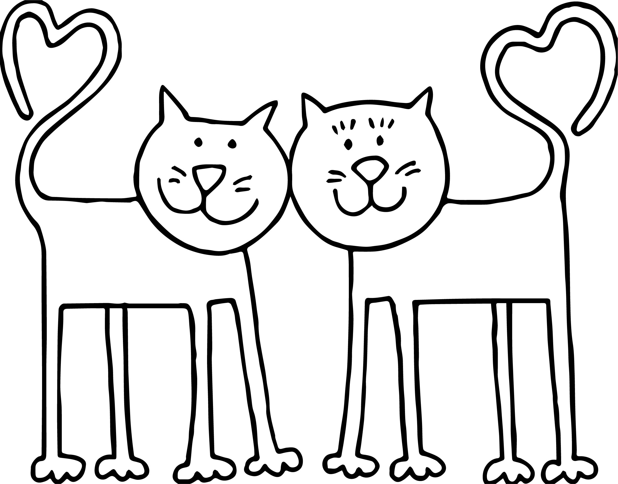 Double heart tail cat coloring page for Double heart coloring pages