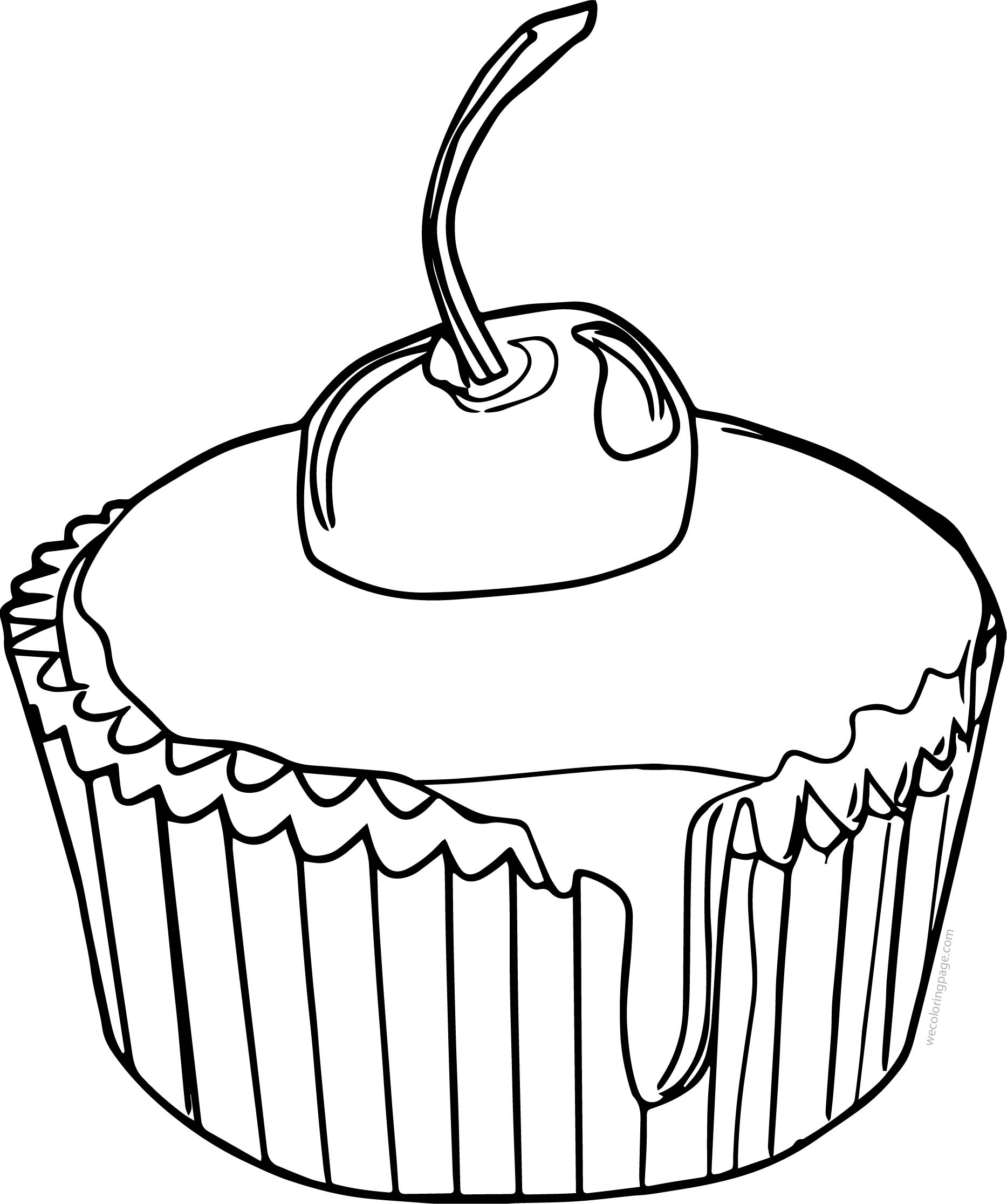 Drawing Cupcake Cup Cake Cherry Coloring Page