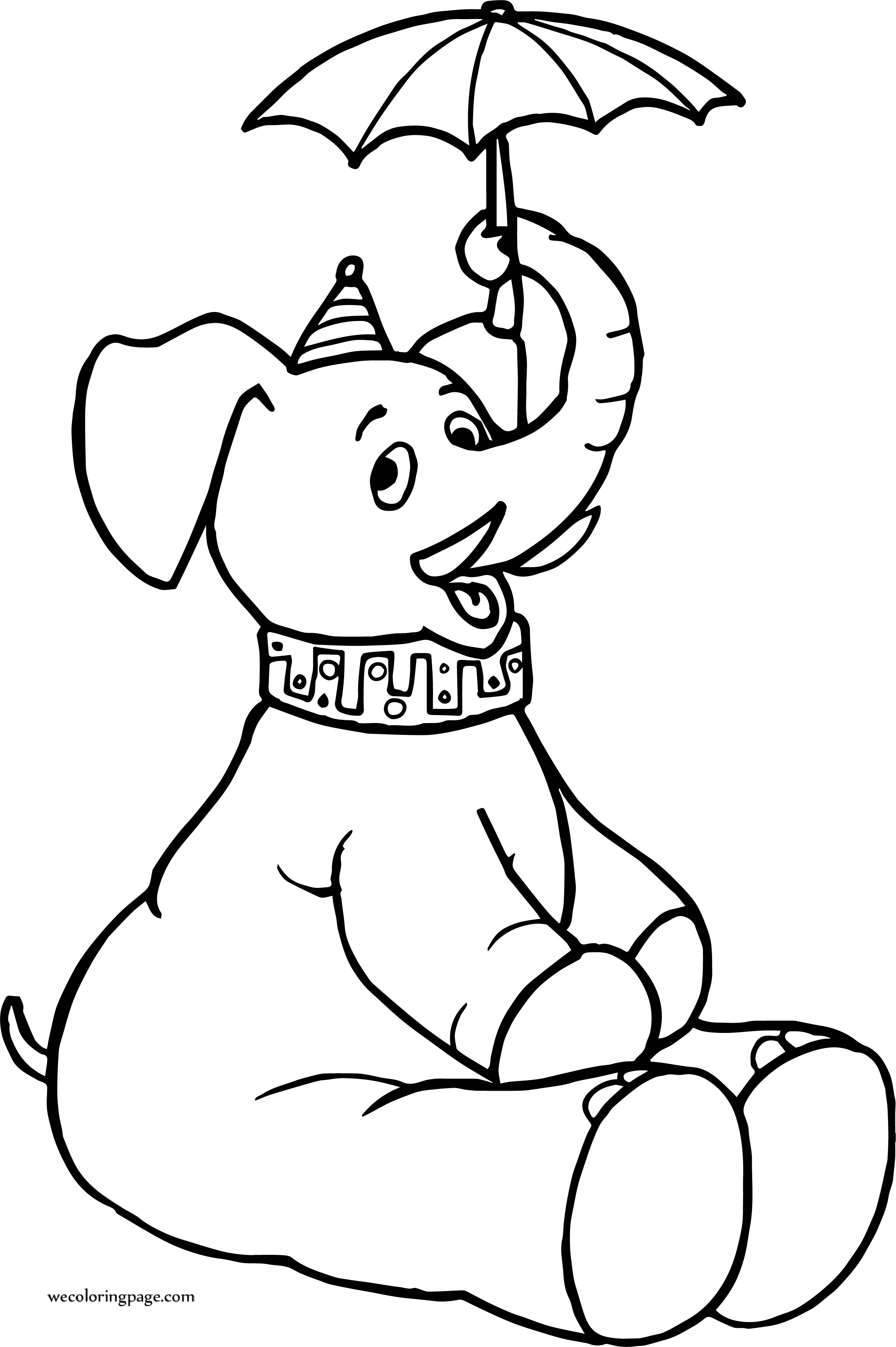 Elephant Umbrella Circus Coloring Page
