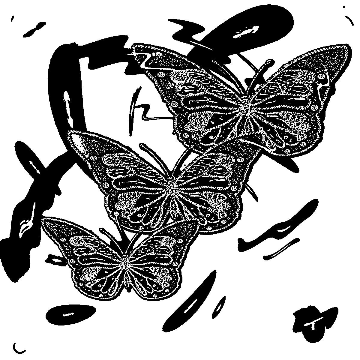 Embroidery Butterfly Coloring Page