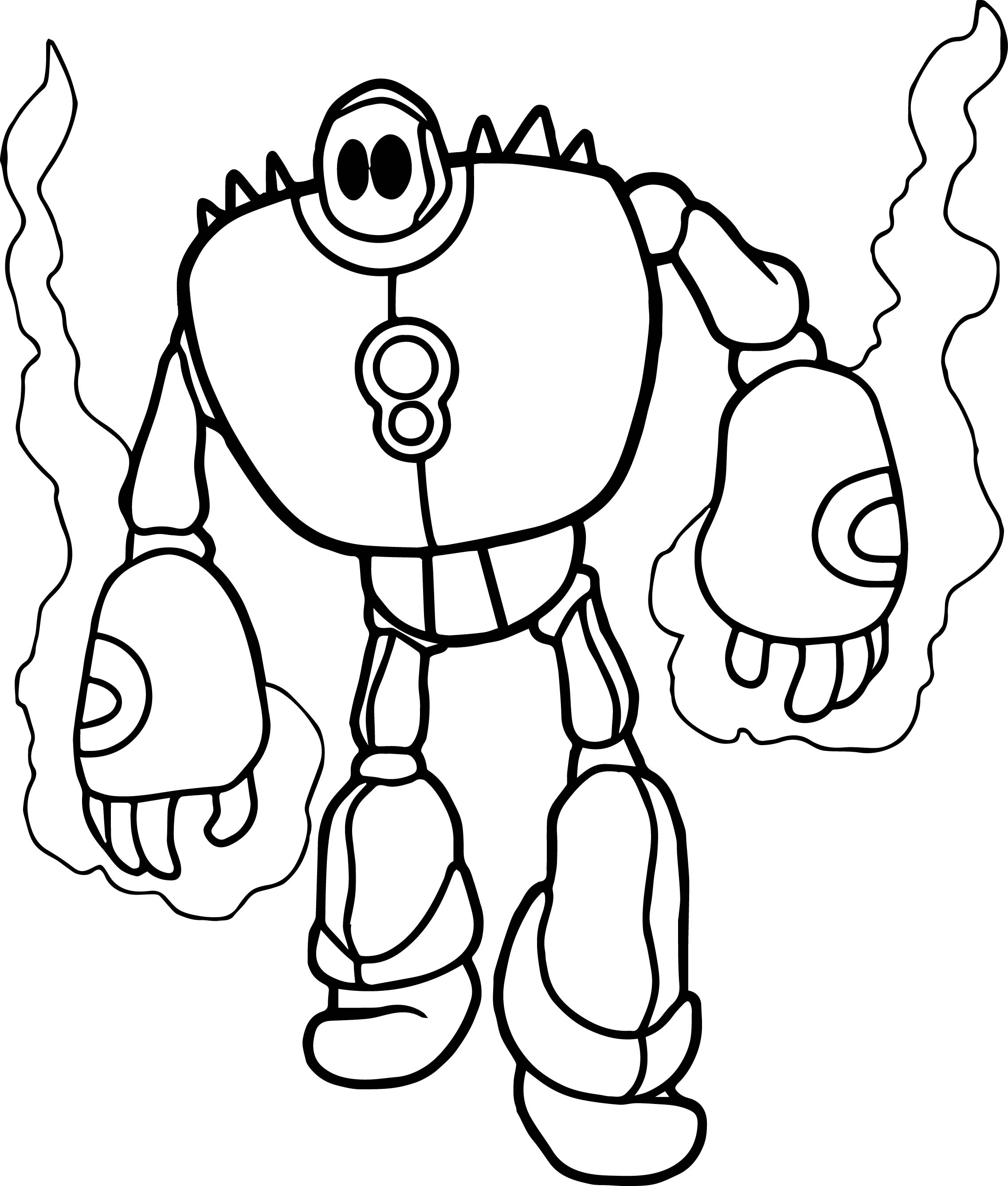 Fire Robot Coloring Page