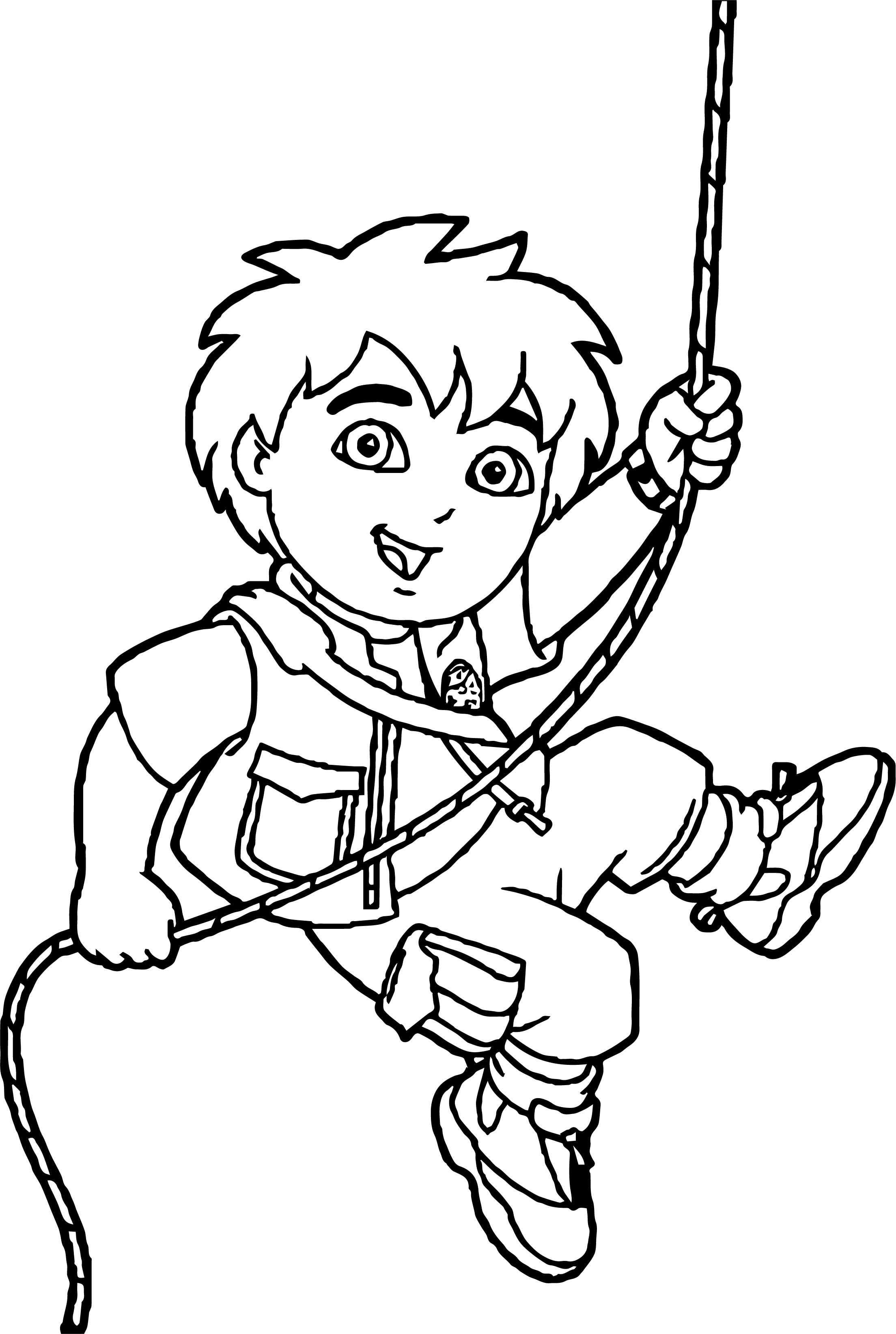 go diego go rope coloring page wecoloringpagecom