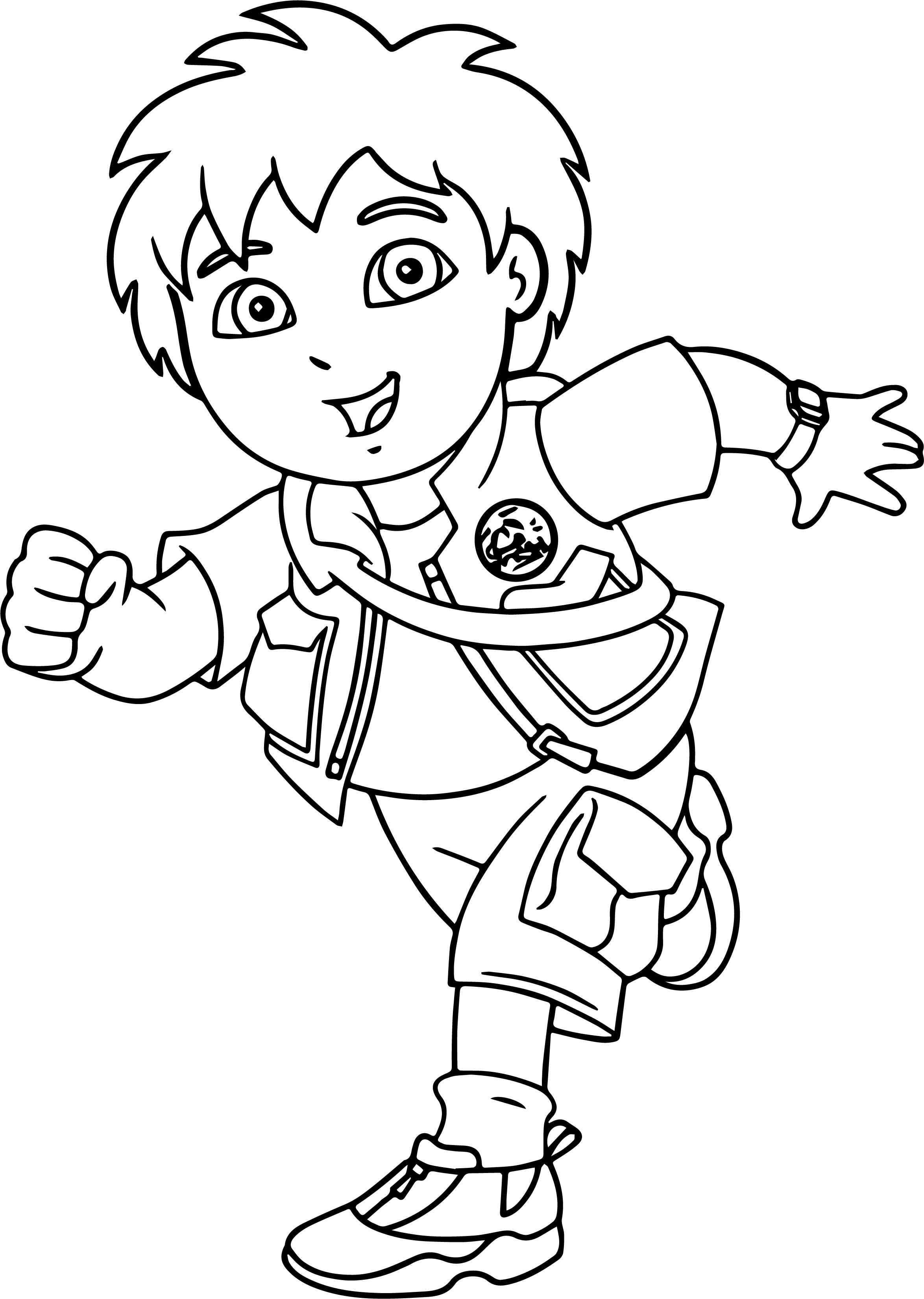 Go Diego Go Running Coloring Page