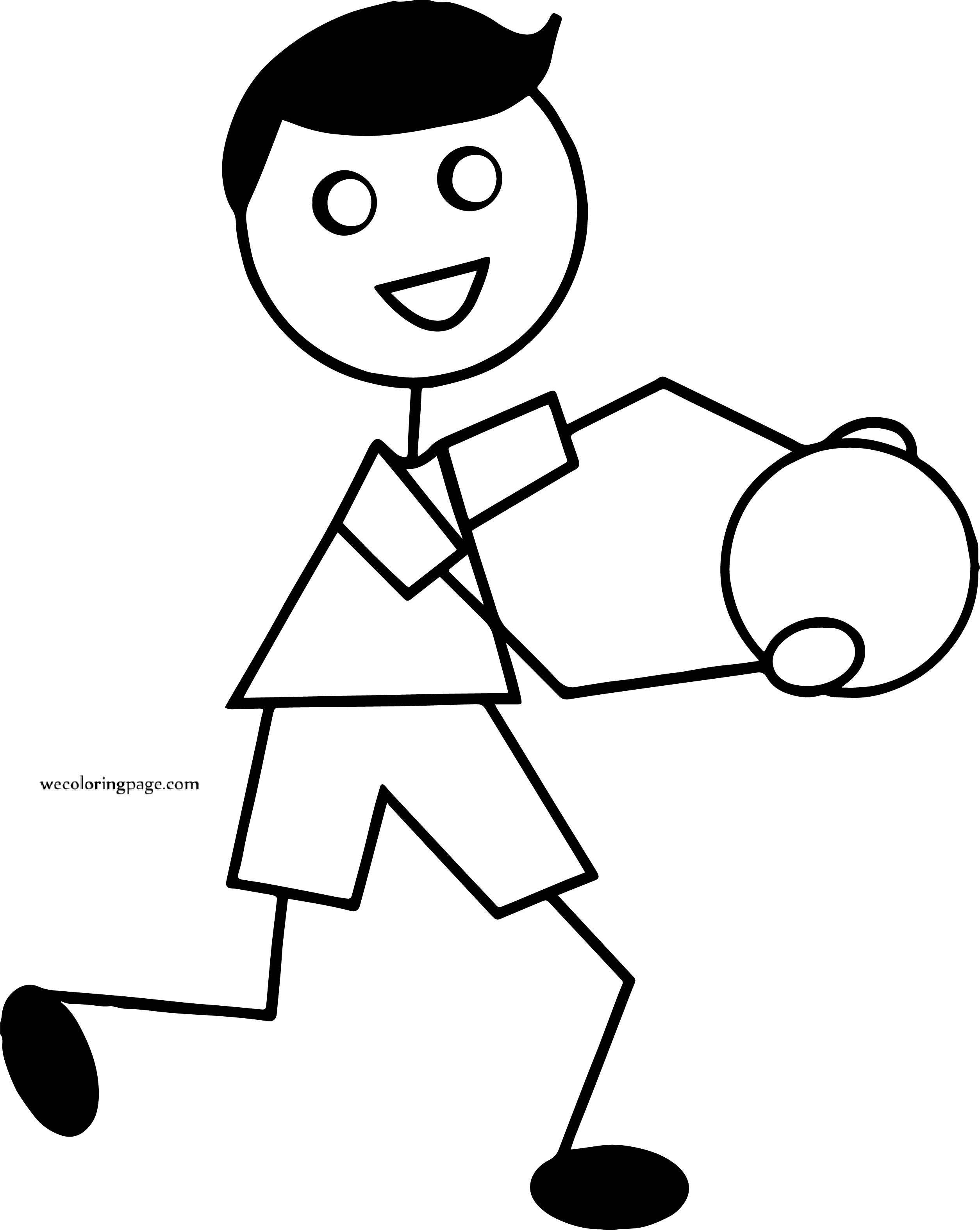 He Boy Holding Ball Coloring Page
