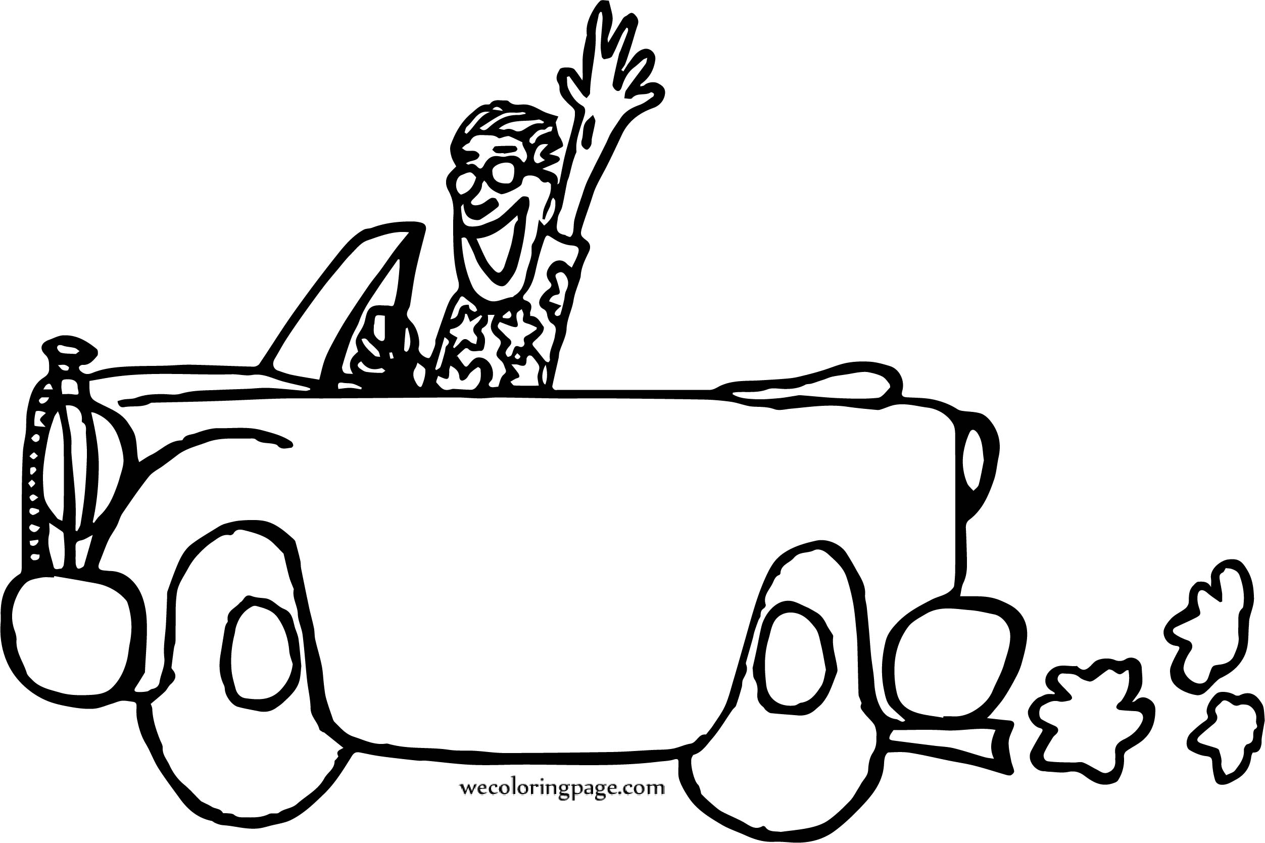 Hello Travel Car And Man Coloring Page