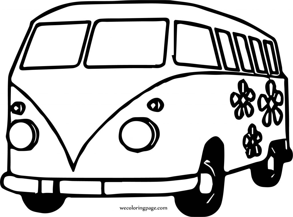 hippie van car coloring page