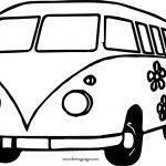 Hippie Van Car Coloring Page