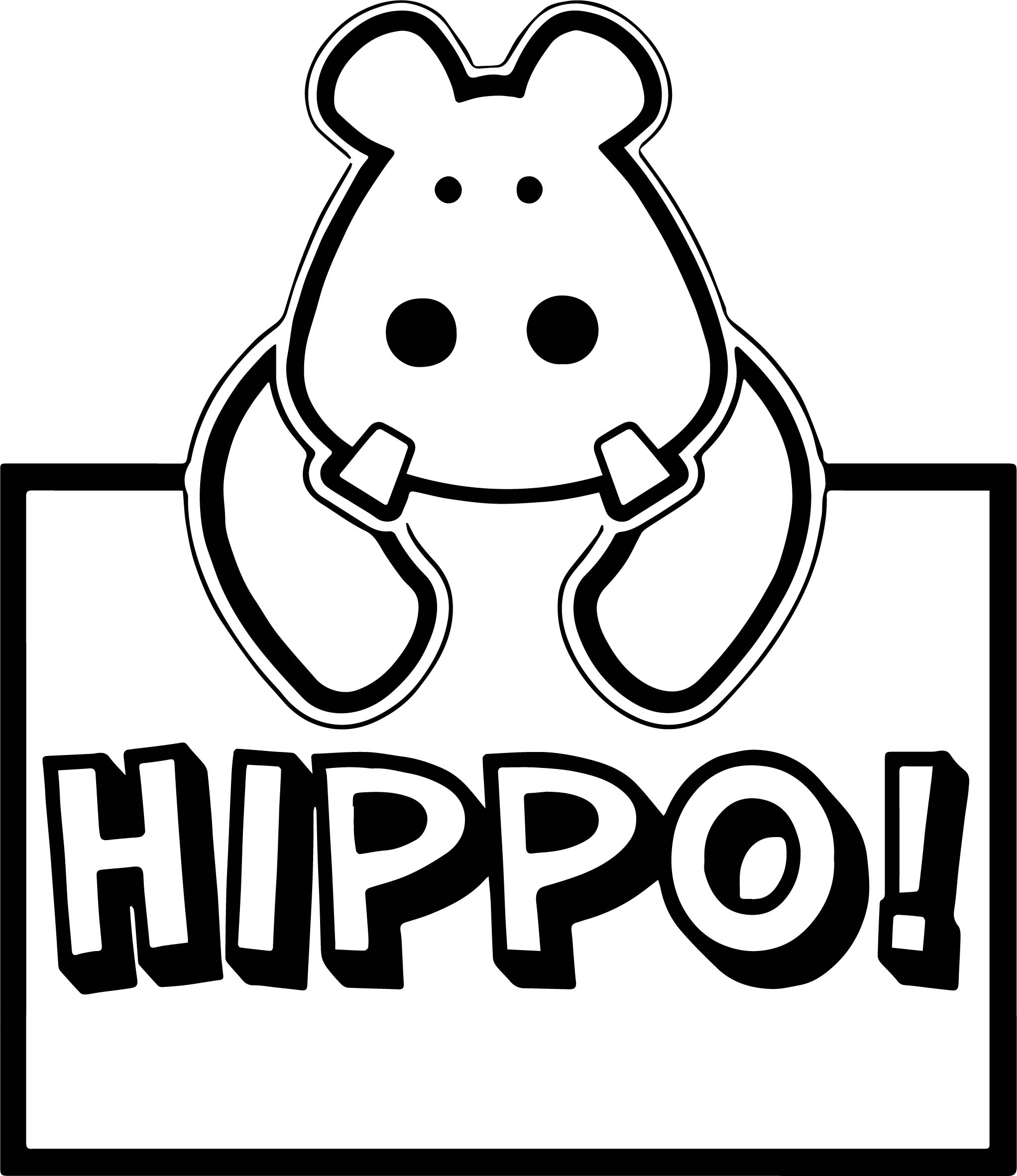 Hippo Animal Coloring Page