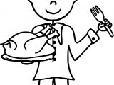 Little Boy Pilgrim Holding A Roasted Turkey Dinner For Thanksgiving We Boy Coloring Page