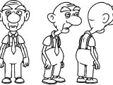 Old Man Character Model Sheet Coloring Page