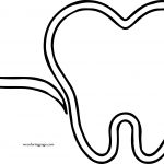 Outline Tooth And Paste Dental Coloring Page