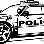 Police Big Jeep Car Coloring Page